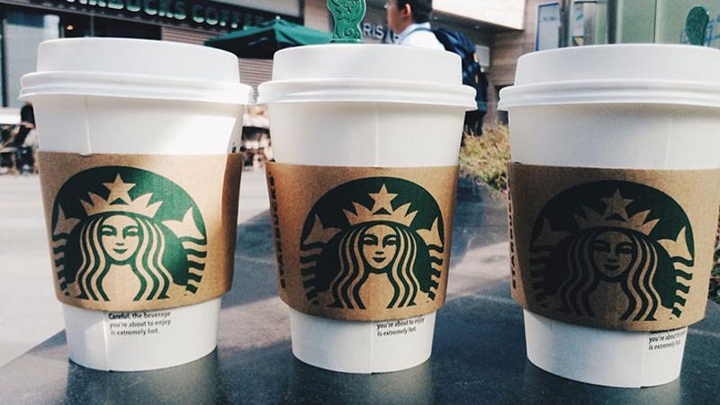 starbucks latte cups coffee