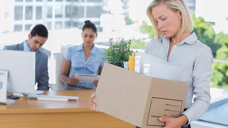 woman fired office box