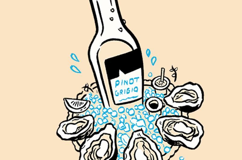 skip bucket wine oysters