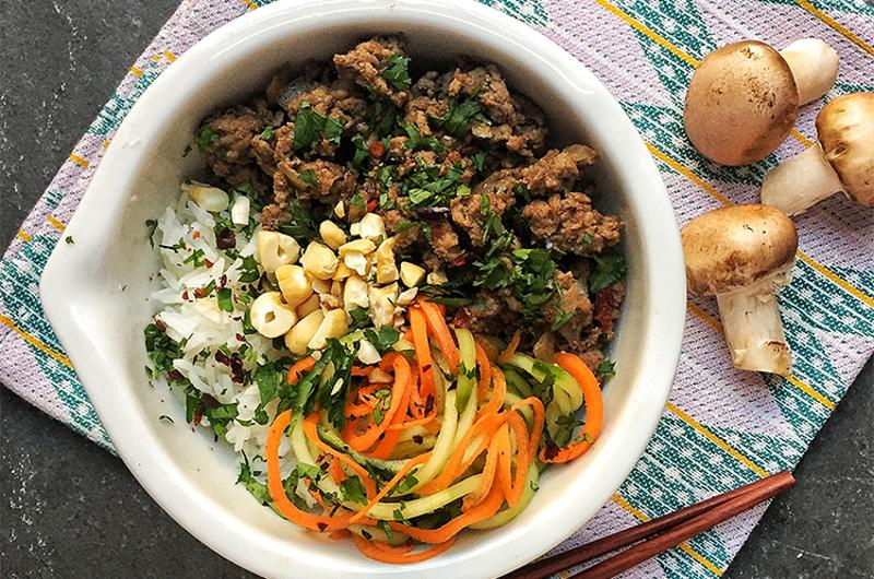 blended asian beef bowl