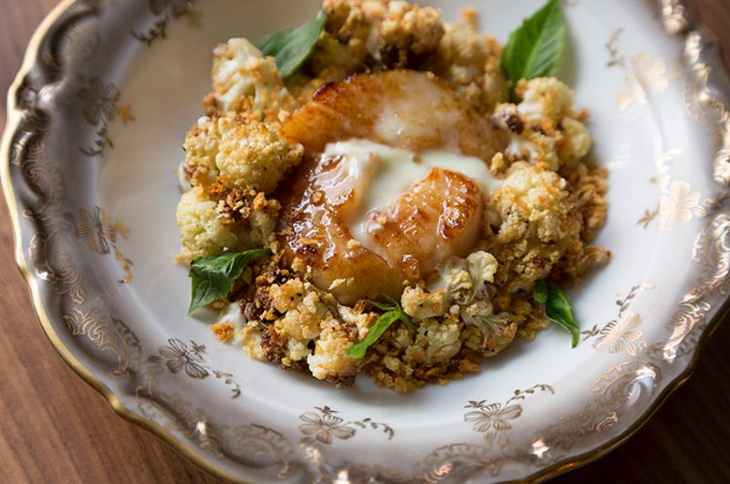 scallop brulle cauliflower wasabi yogurt