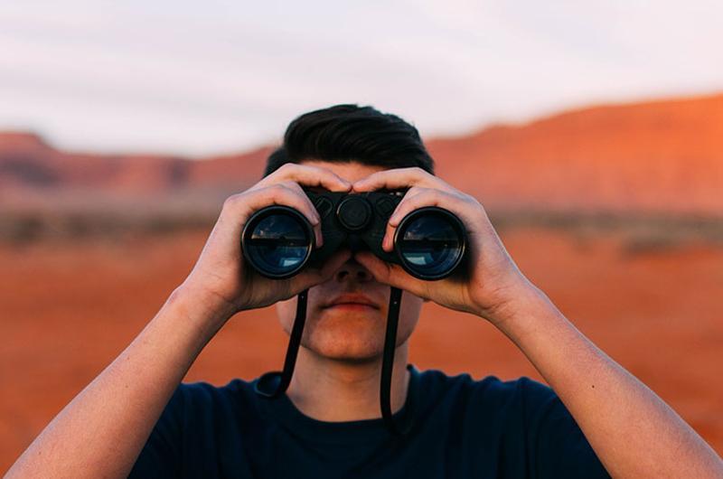 vision binoculars people man discovery looking