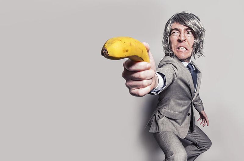 angry man banana