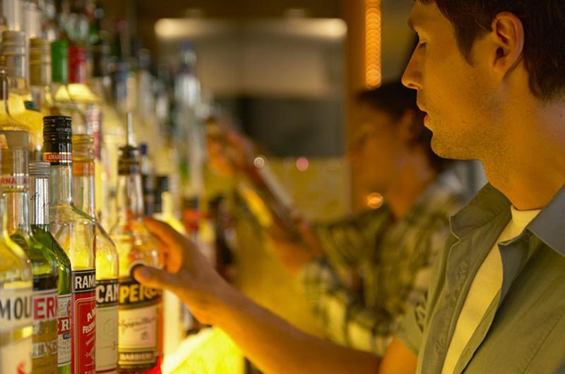 bartender liquor bottles