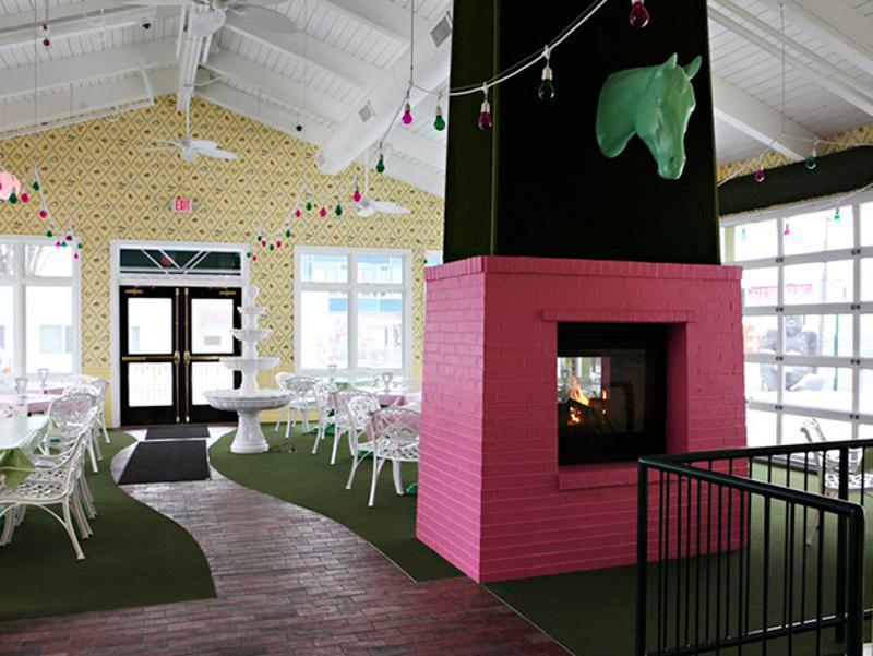 betty dangers pink fireplace