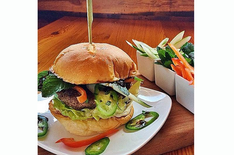 big orange vietnamese spring burger