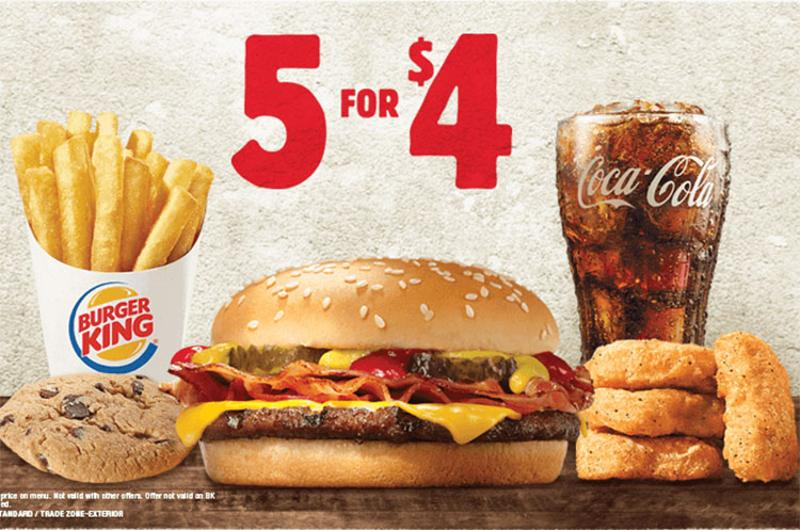 burger king offers 5 for 4