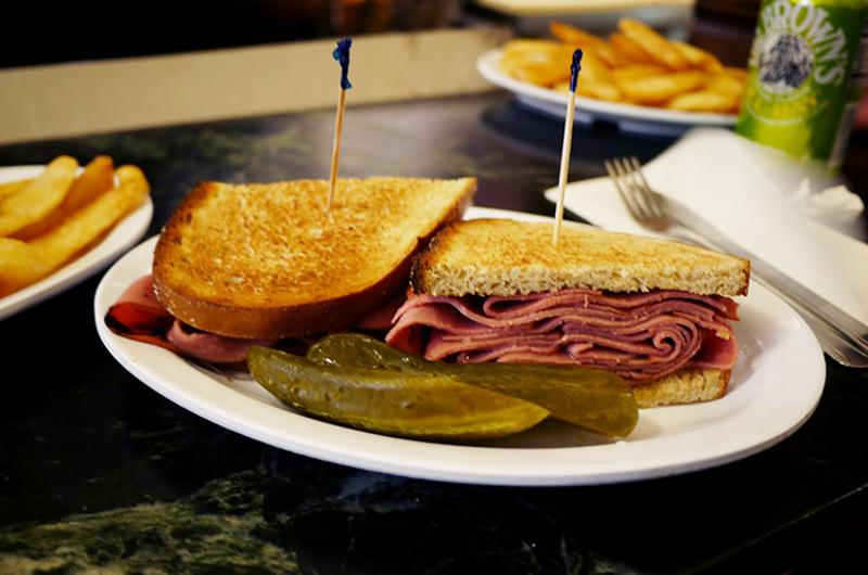 Bologna sandwich on rye with onions