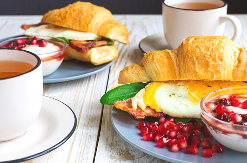 breakfast tea croissant sandwiches