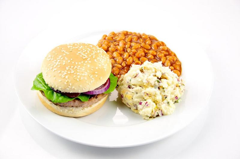 burger potato salad beans
