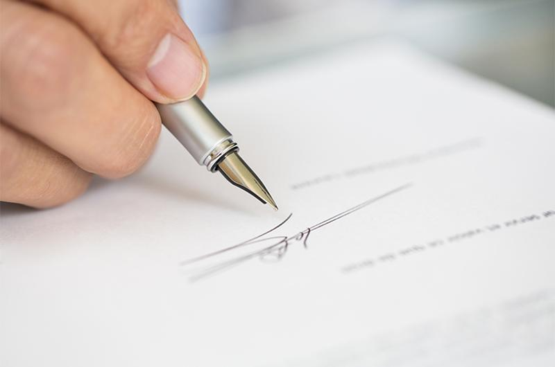 business signing contract