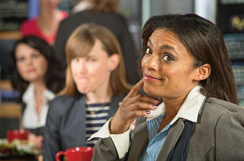 business woman restaurant thinking