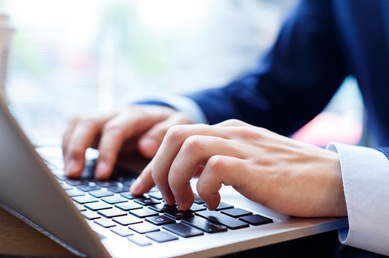 businessman hands computer