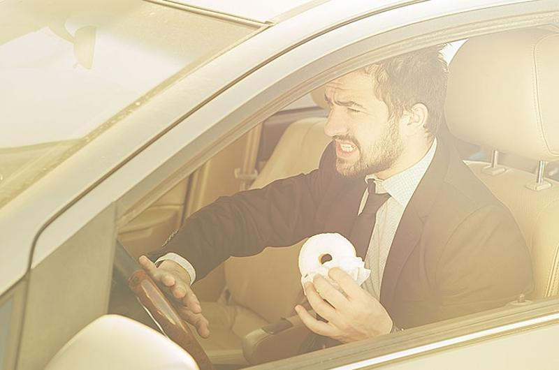 car driving food donut