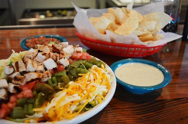 chuys mexi-cobb salad queso chips