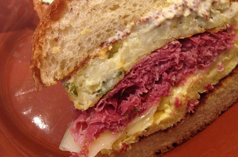 corned beef swiss egg sandwich