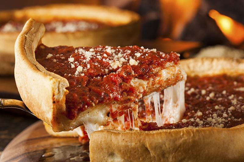 deep dish pizza slice