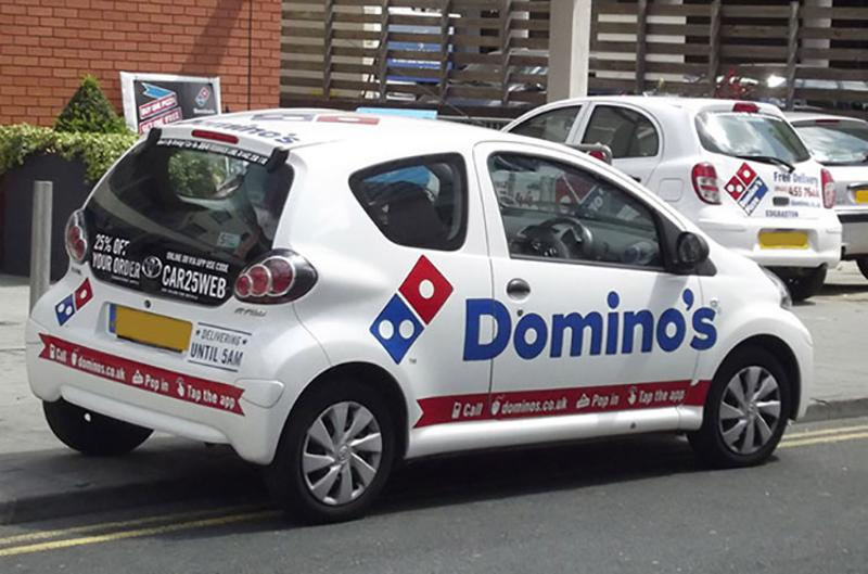 dominos delivery car