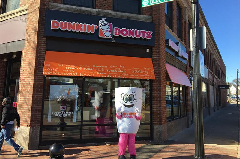 dunkin donuts mascot storefront