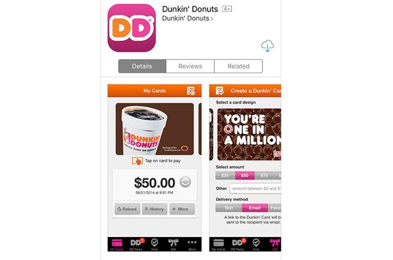 dunkin donuts mobile app