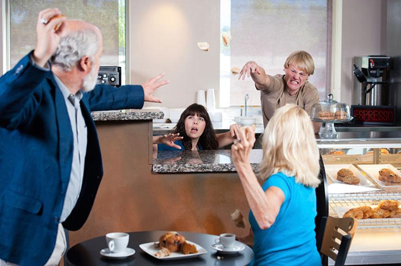dysfunctional restaurant food fight