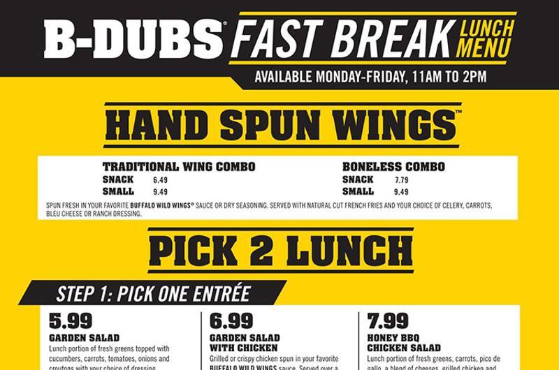 fast break lunch menu