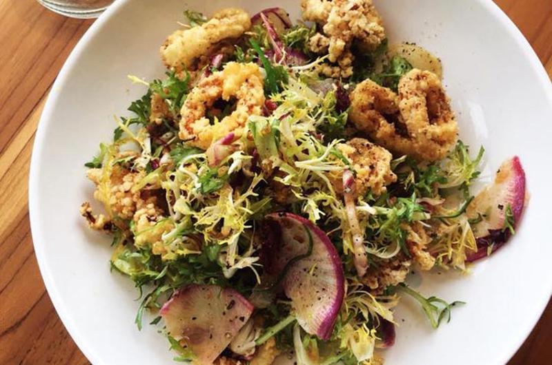 fin pearl calamari salad