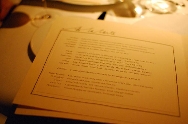 fine dining menu