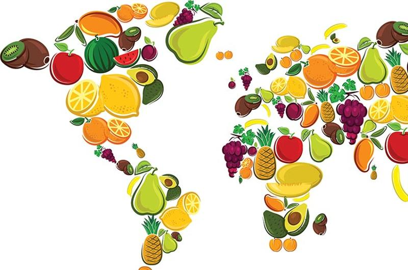 fresh fruits world map