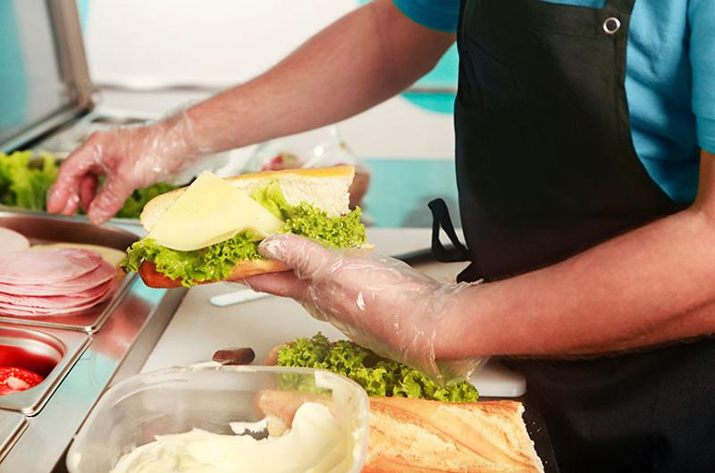 gloves sandwich making food safety