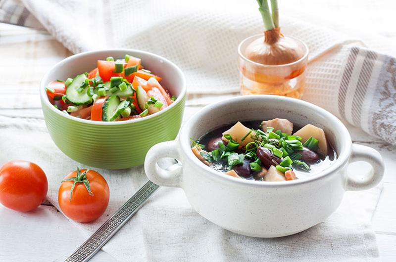 healthy soup salad