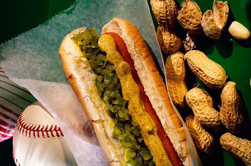 hot dog peanuts baseball