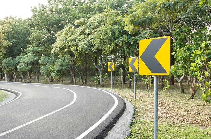 left turn road sign