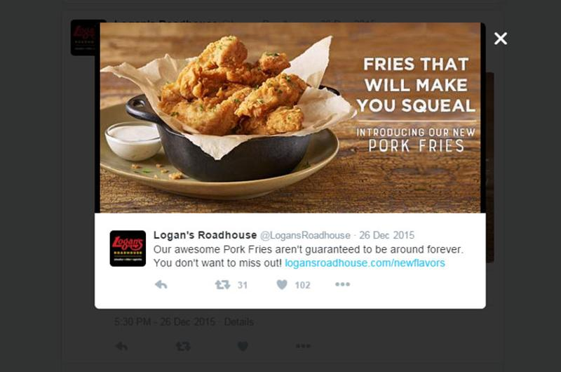 logans roadhouse pork fries twitter