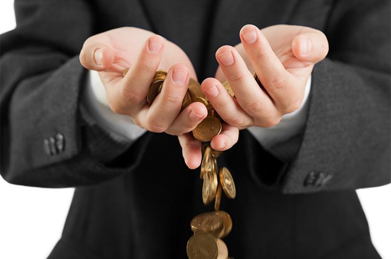 losing coins hands money