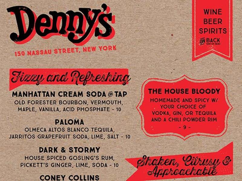 manhattan dennys bar menu front