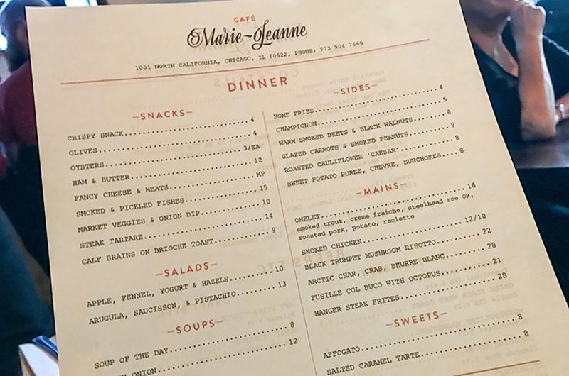 marie jeanne menu
