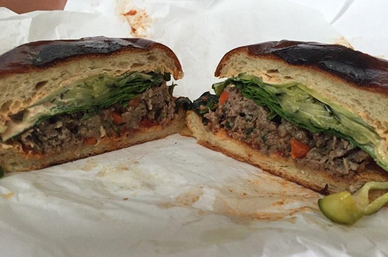 Meatloaf sandwich on brioche