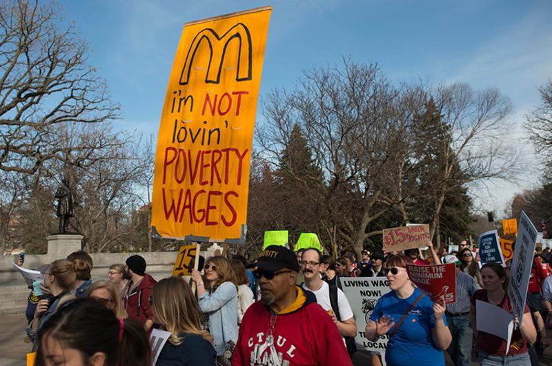minimum wage mcdonalds protest