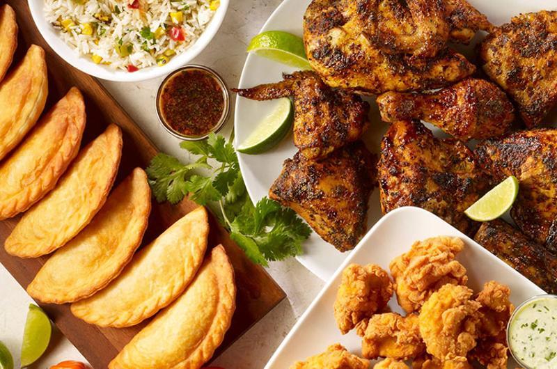 pollo campero food spread