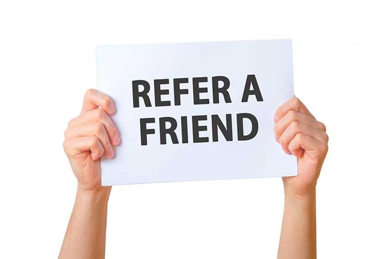 refer a friend sign