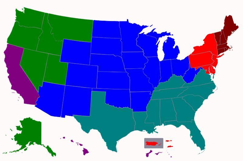 regional usa map