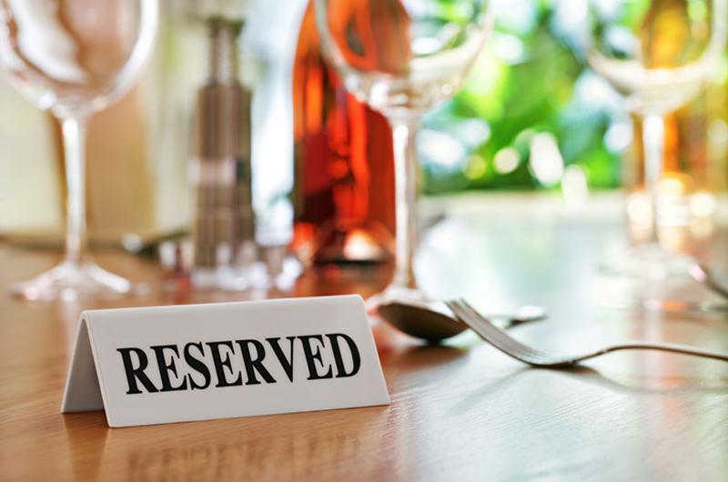 reserved sign restaurant