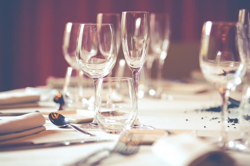 restaurant table and glasses