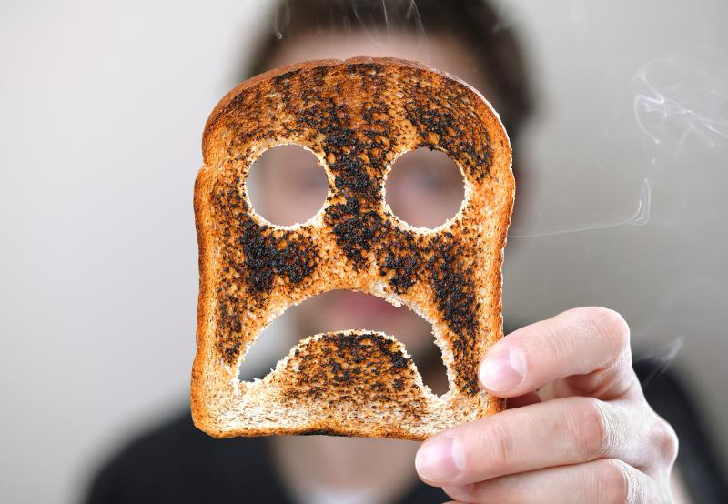 sad face toast burnt fail