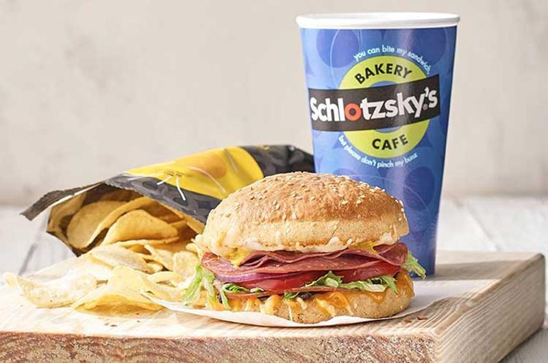 schlotzskys sandwich chips drink