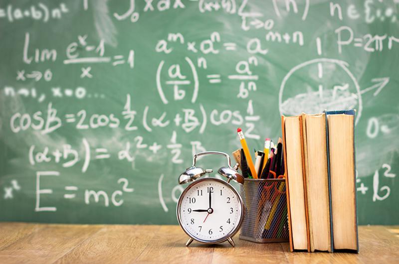 school book chalkboard alarm clock
