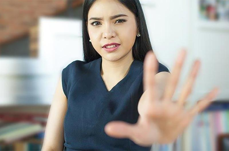 stop business woman hand