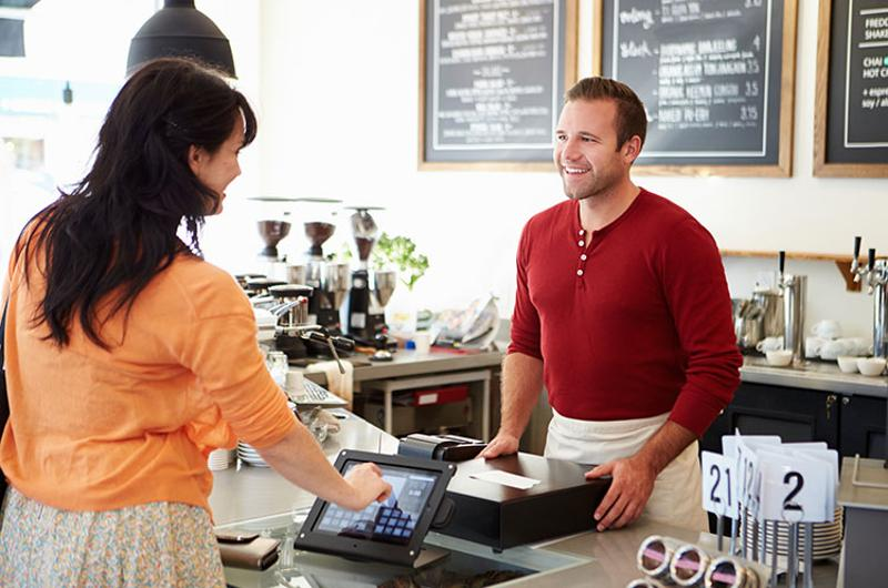 touch screen tablet pay coffee shop