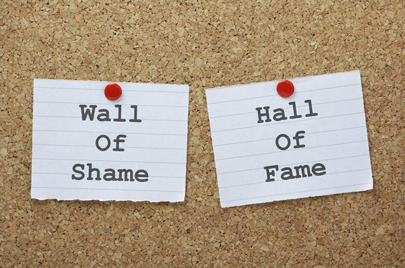 wall of shame hall of fame